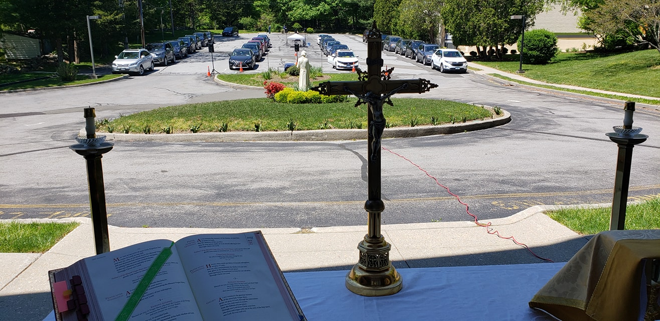 Mass view of parking lot from altar